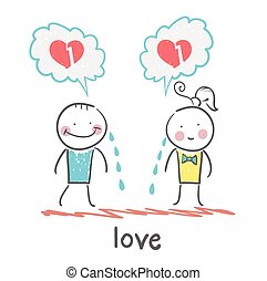 girl and guy cry, thinking about lost love