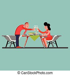 Girl and guy having a romantic dinner