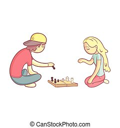Girl And Guy Playing Chess