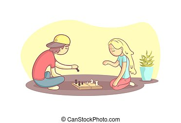 Girl And Guy Sitting on the Floor and Playing Chess Vector Illustration
