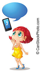 girl and handset with call out - illustration of a girl with...
