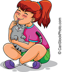 girl and her cat - girl hugging her cat