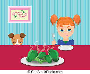 Girl and her Dog at the table