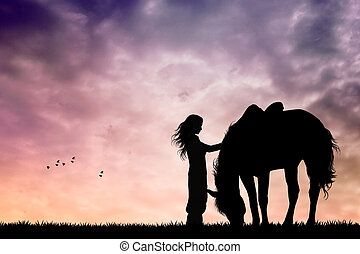 girl and horse - illustration of girl and horse