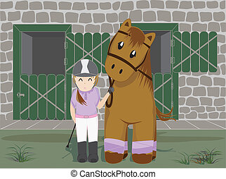 Girl and horse and stables background