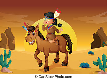 girl and horse - illustration of girl and horse in a desert