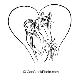 Girl and horse in heart shape for love and passion for animals - Vector hand drawn painted illustration isolated on white background