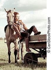 Girl and horse - Beautiful girl and Akhal-Teke horse on...