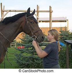 Girl and horse - Nice young girl with her horse