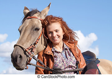 Girl and horse - Beautiful girl and Akhal-Teke horse...