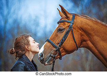 Girl and horse - Portrait of a girl and horse