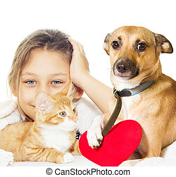 girl and kitten and dog on a white background