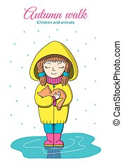Girl and kitten in the rain.