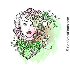 Girl and leaves on a green watercolor background.