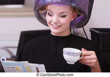 Girl and magazine coffee hair salon