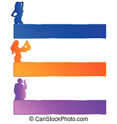 girl and man in three color with mesagge space vector