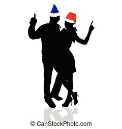 girl and man with christmas hat vector illustration