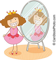 illustration of girl in front of a mirror on a white background