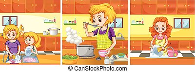 Girl and mom doing activities in the kitchen
