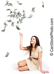 Girl and money - Young woman throwing 100 dollar bills up ...