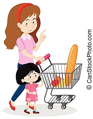 Girl and mother shopping for food