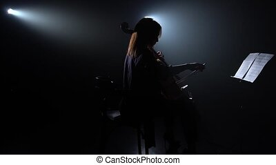Girl and musical instruments of the cello. Silhouette. Black smoke background