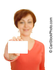 Girl and notecard with room for text
