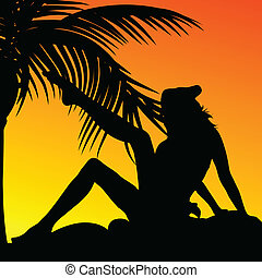 girl and palm on a sunset color vector