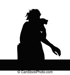 girl and parrot vector silhouette illustration