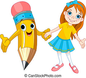 Little girl holding the hand of a giant pencil