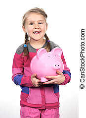 girl and pink piggy