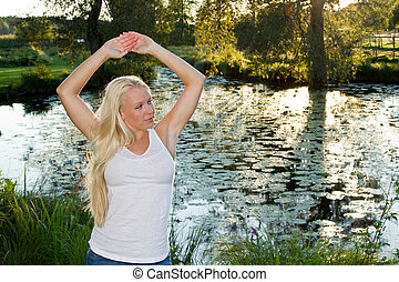 Girl and pond