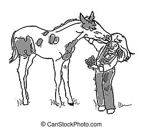 Girl and Pony - Sweet black and white illustration of a girl...