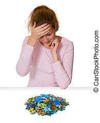 Girl and puzzle
