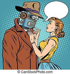 girl and robot artificial intelligence fiction pop art retro...