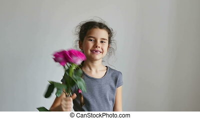 girl and rose flowers - girl teen gives flowers roses happy