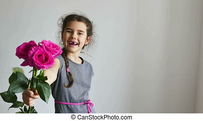 girl and rose flowers - happy girl teen gives flowers roses