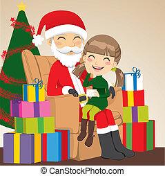 Girl and Santa Claus