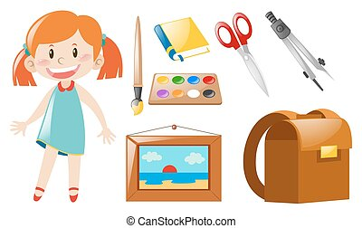 Girl and school objects