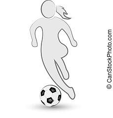 Girl and soccer ball icon logo