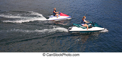 Girl and speed-boat