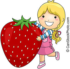 Girl and Strawberry