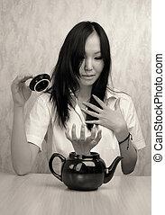 Girl and teapot