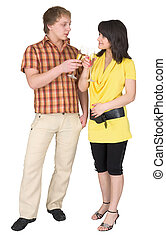 Girl and the guy drink champagne on a white background