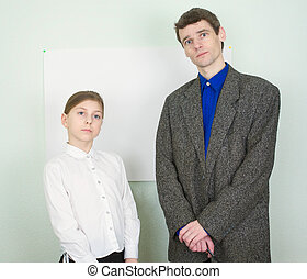 Girl and the man in a suit