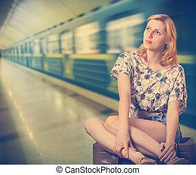 girl and train
