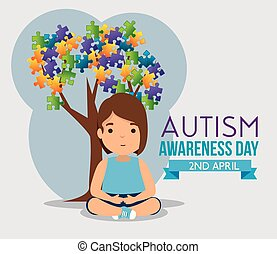 girl and tree with puzzles leaves to autism day vector...