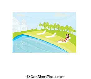 girl and tropical pool