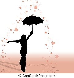 Girl and Umbrella - Hearts Rain - silhouette as valentine...