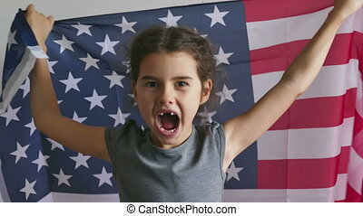 Girl and USA American Flag - girl shouting teen holding usa...